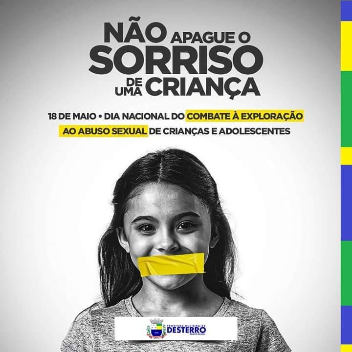 18 de maio, dia nacional do combate à exploração e ao abuso sexual de crianças e adolescentes.