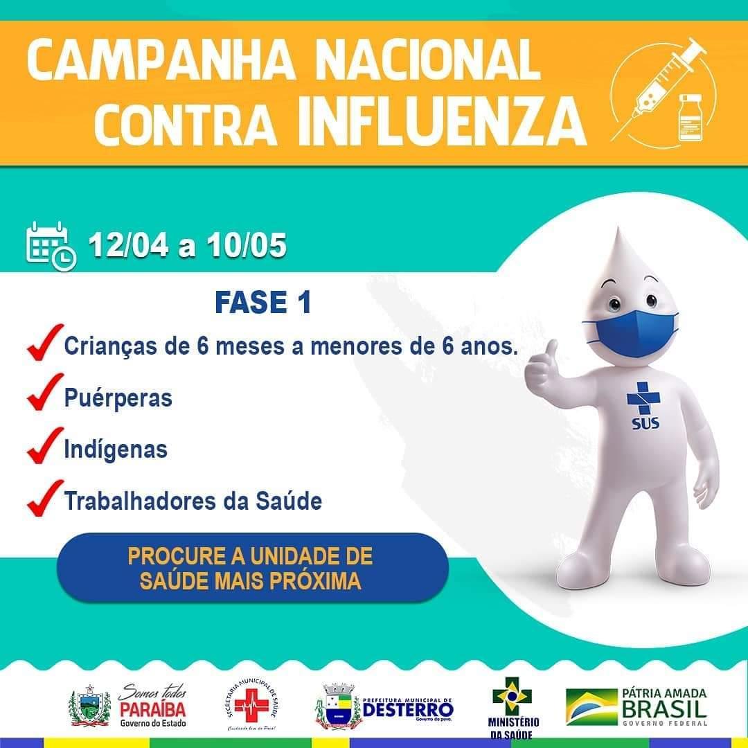 Atenção para os prazo de vacinação contra Influenza.