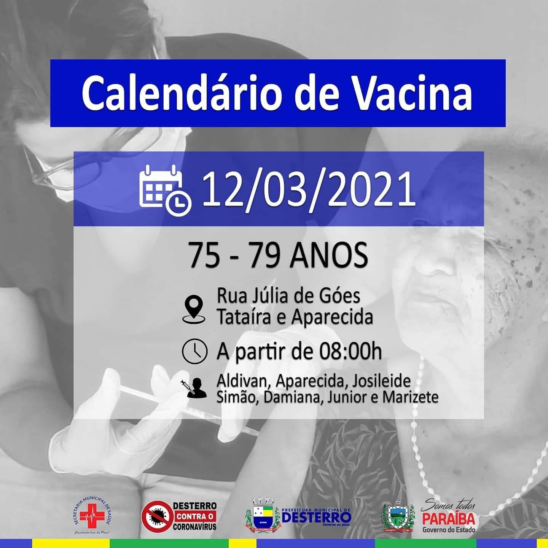 Calendário de Vacinação 12/03/2021