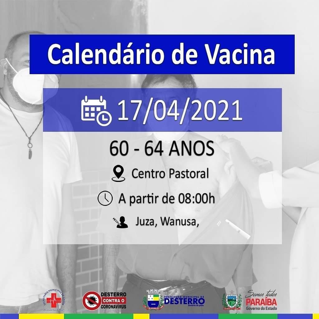 Calendário de Vacinação 17/04/2021