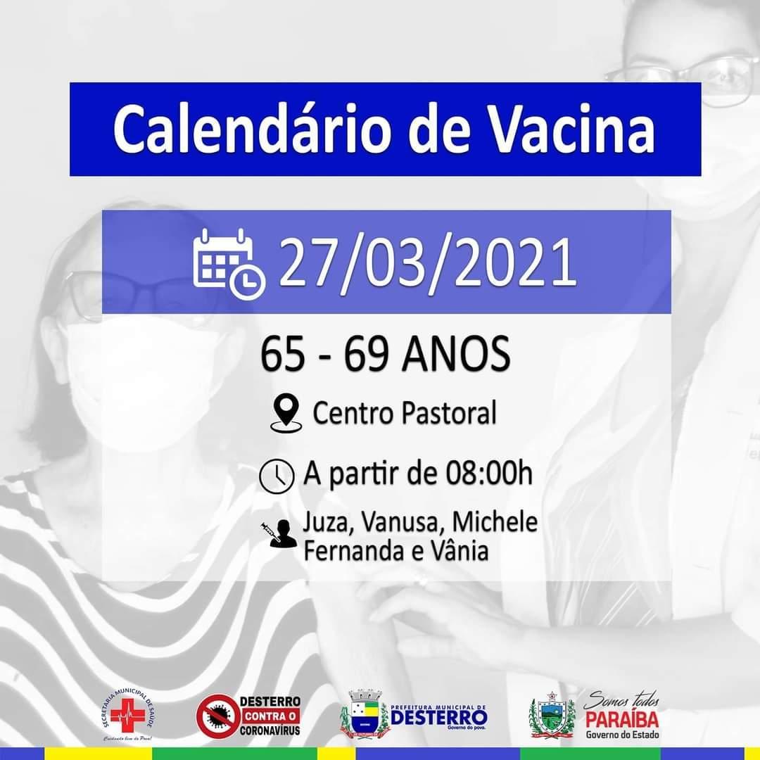 Calendário de Vacinação 27/03/2021