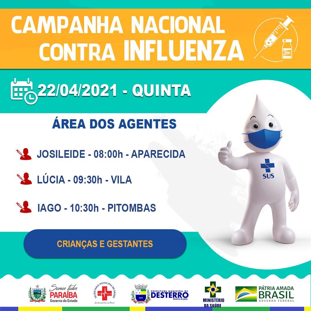 Calendário de Vacinação Influenza 22/04/2021