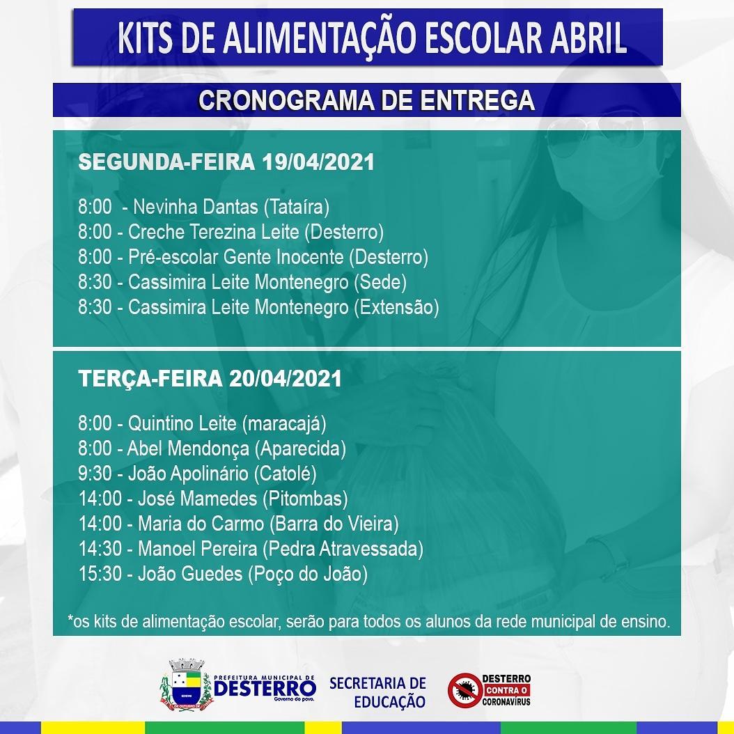 Kits de Alimentação Escolar do Mês de Abril