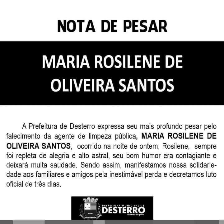 Nota de Pesar Rosilene.